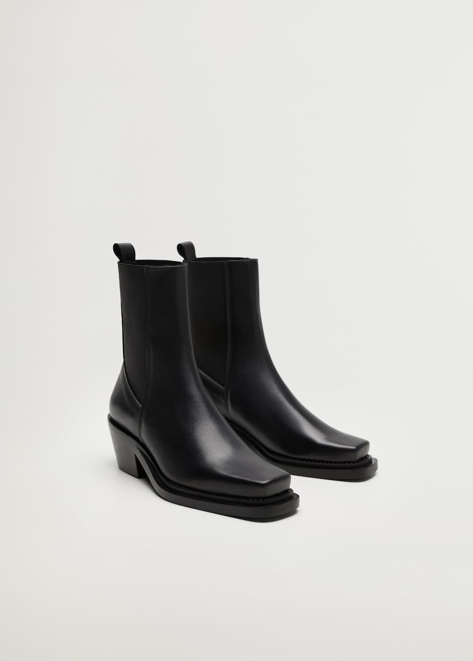 Elastic panels leather ankle boots - Medium plane