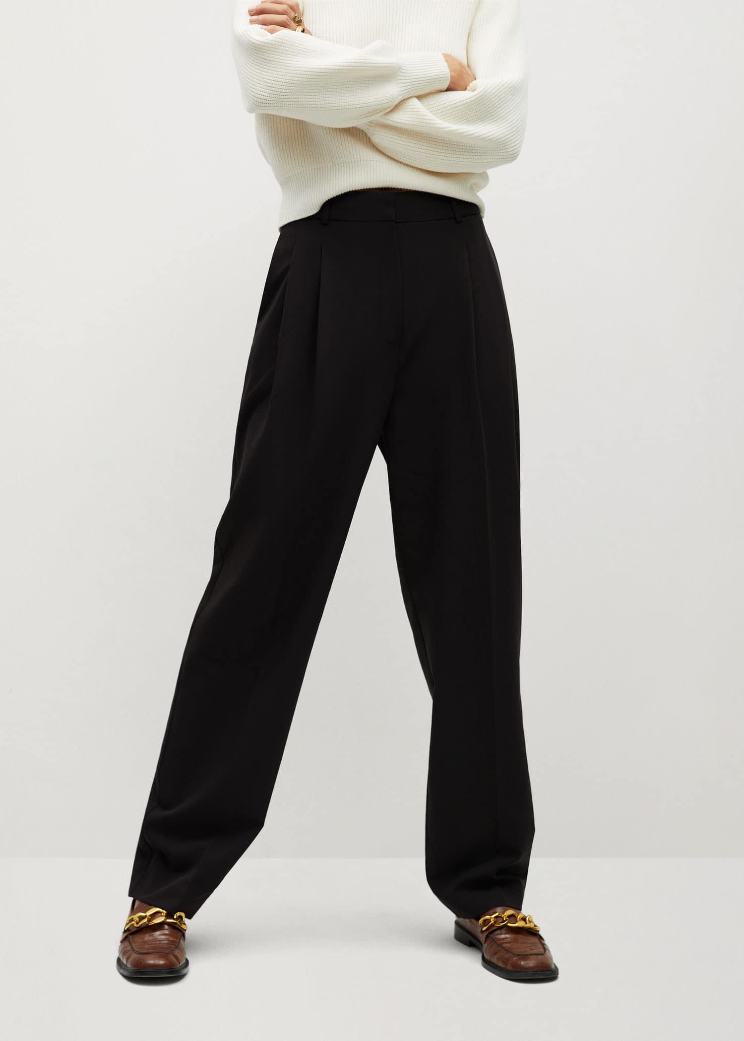 Løse bukser med struktur Damer   Mango Norge