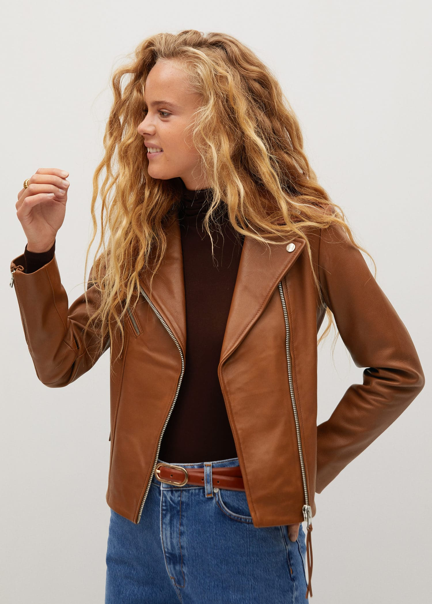 Zip Detail Leather Biker Jacket Woman Mango Canada