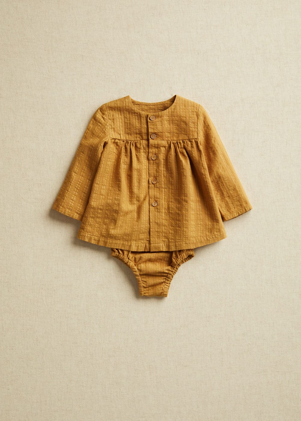 Ochre textured blouse and bloomers