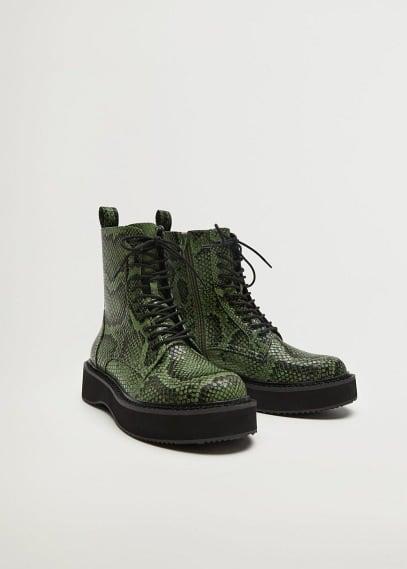 Женские ботинки Mango (Манго) Ботинки со шнуровкой и тракторной подошвой - Nicola