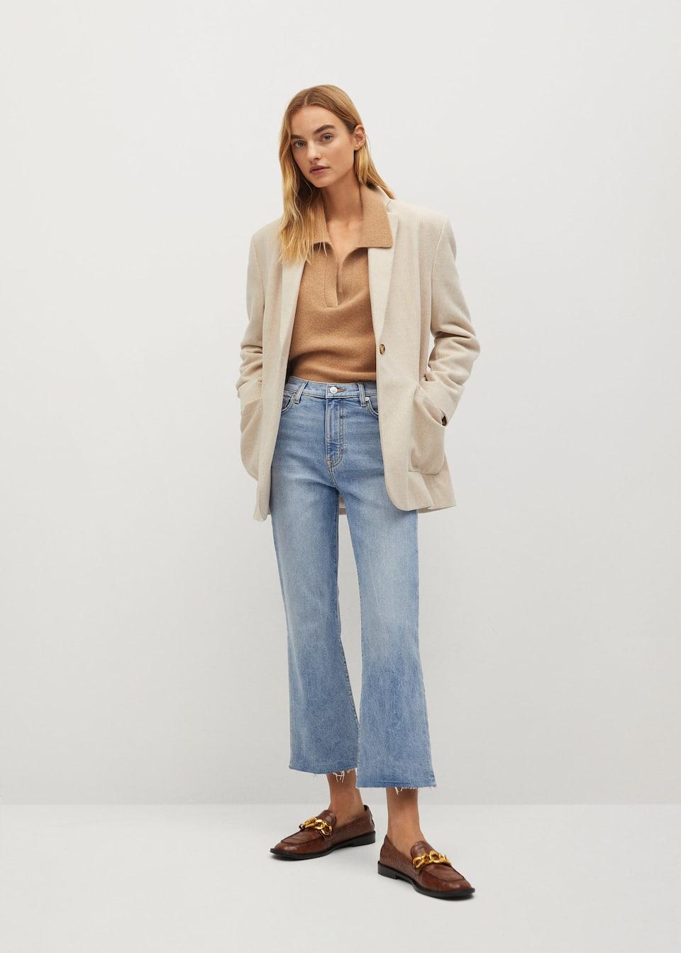 Crop flared jeans - General plane