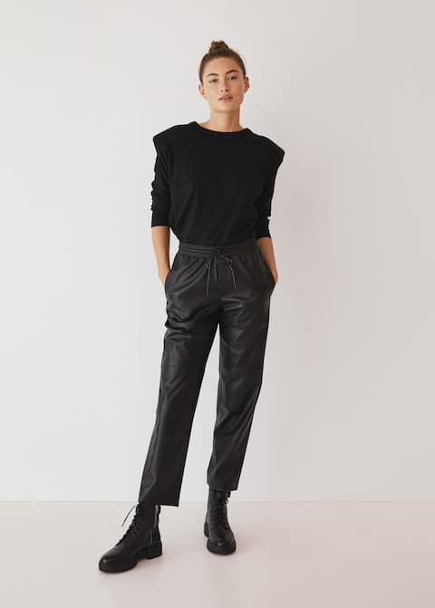 Leather-effect elastic waist trousers - General plane
