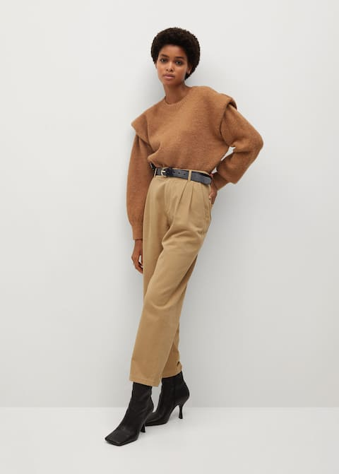 Cotton Pleated Trousers Camel