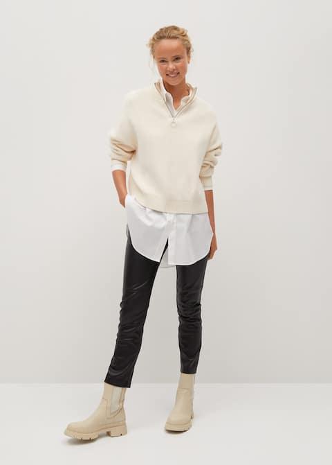 Slim Fit Faux Trousers