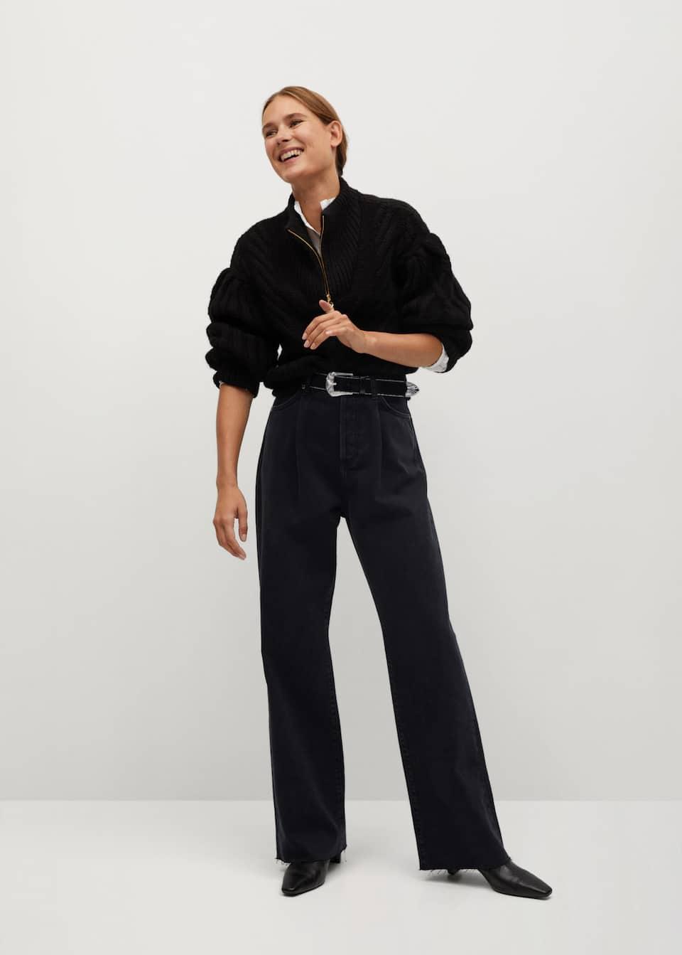 Jeans tiro alto Wideleg pinzas - Plano general