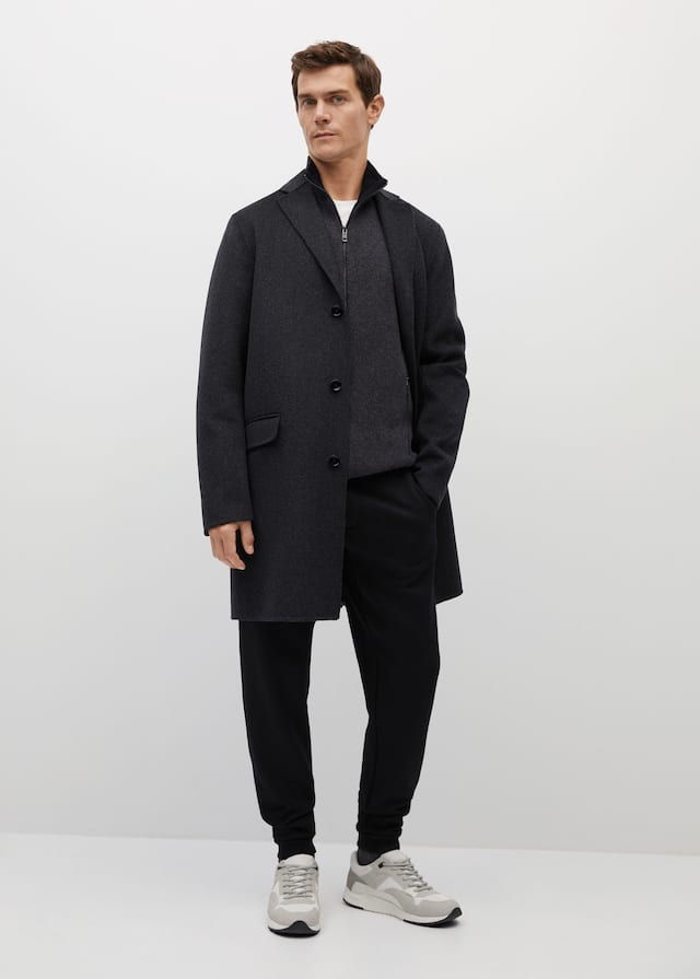 Overcoat from Mango styled with sweatpants | How to wear sweatpants