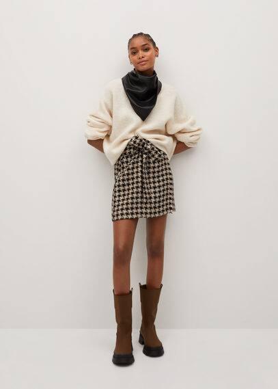 Мини-юбка в гусиную лапку с поясом - Wintour
