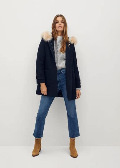 Пальто с мехом на капюшоне - Work