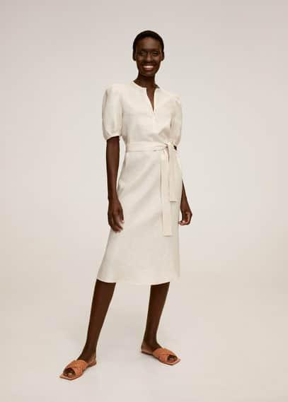 Льняное платье с поясом - Vela-h