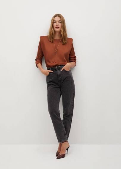 Атласная блузка с подплечниками - Pady