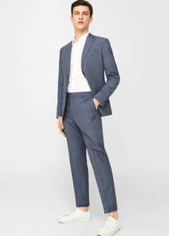 Slim-fit check wool suit trousers - Men | MANGO Man USA