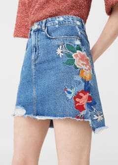 Embroidered denim skirt - Women | MANGO USA