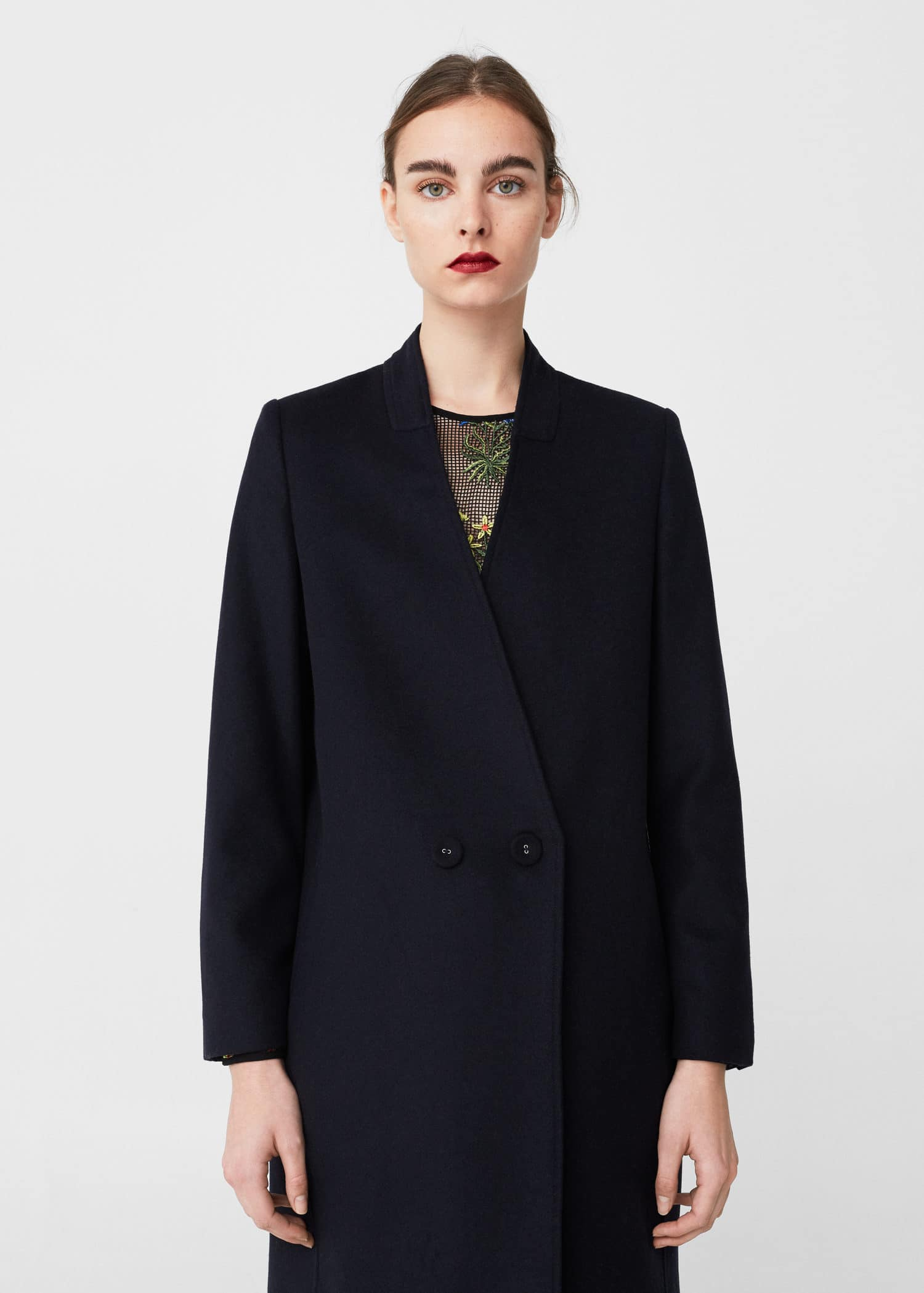 Unstructured wool-blend coat ...