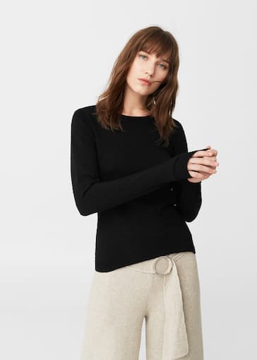 37d49a325008 Pull-over à pois relief - Femme