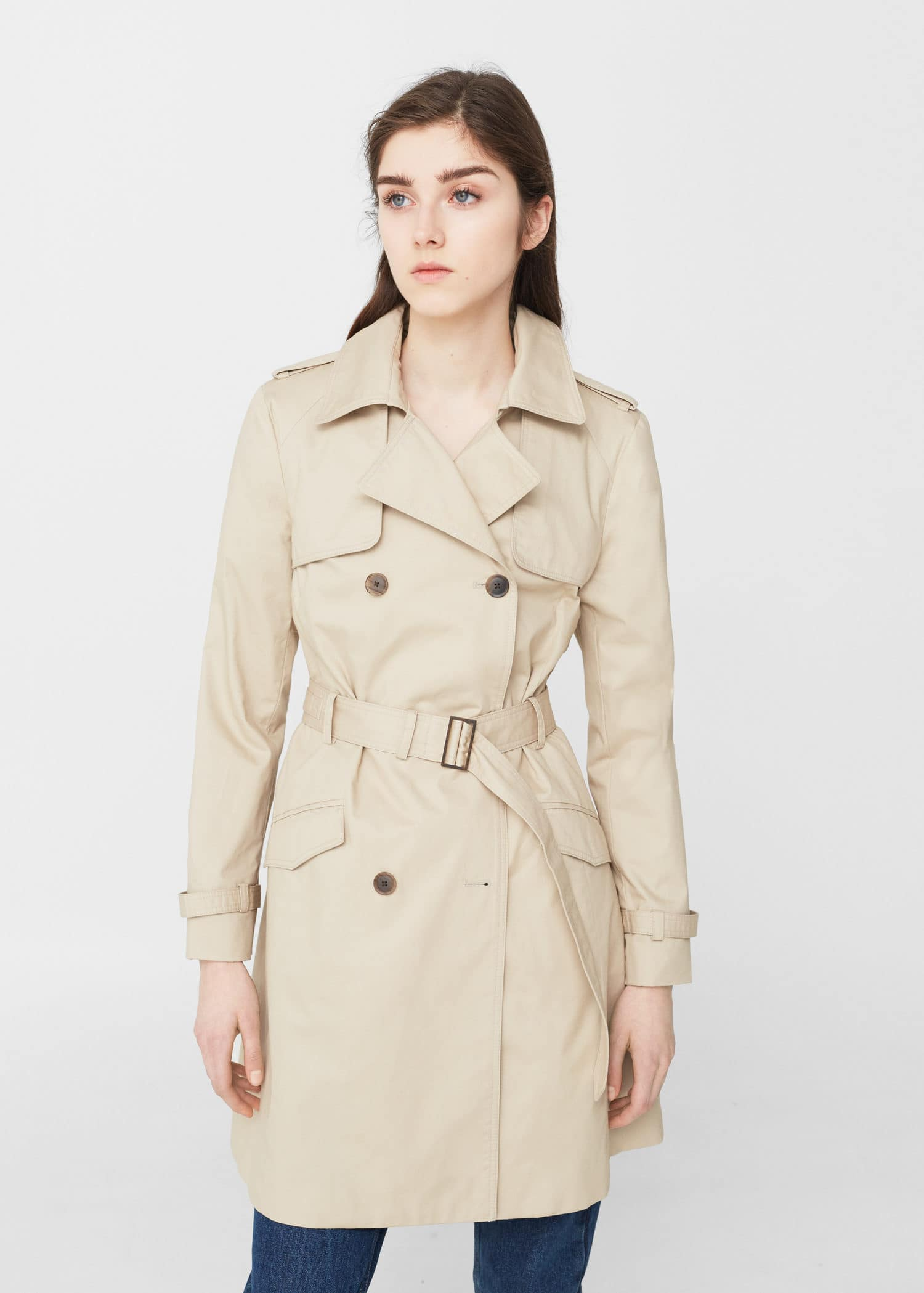 USA cotton MANGO trench coat Women Classic q4nBFxB