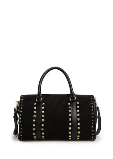 Studded suede bowling bag