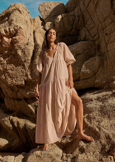 Φόρεμα βαμβακερό ρίγες - Λεπτομέρεια του προϊόντος 5