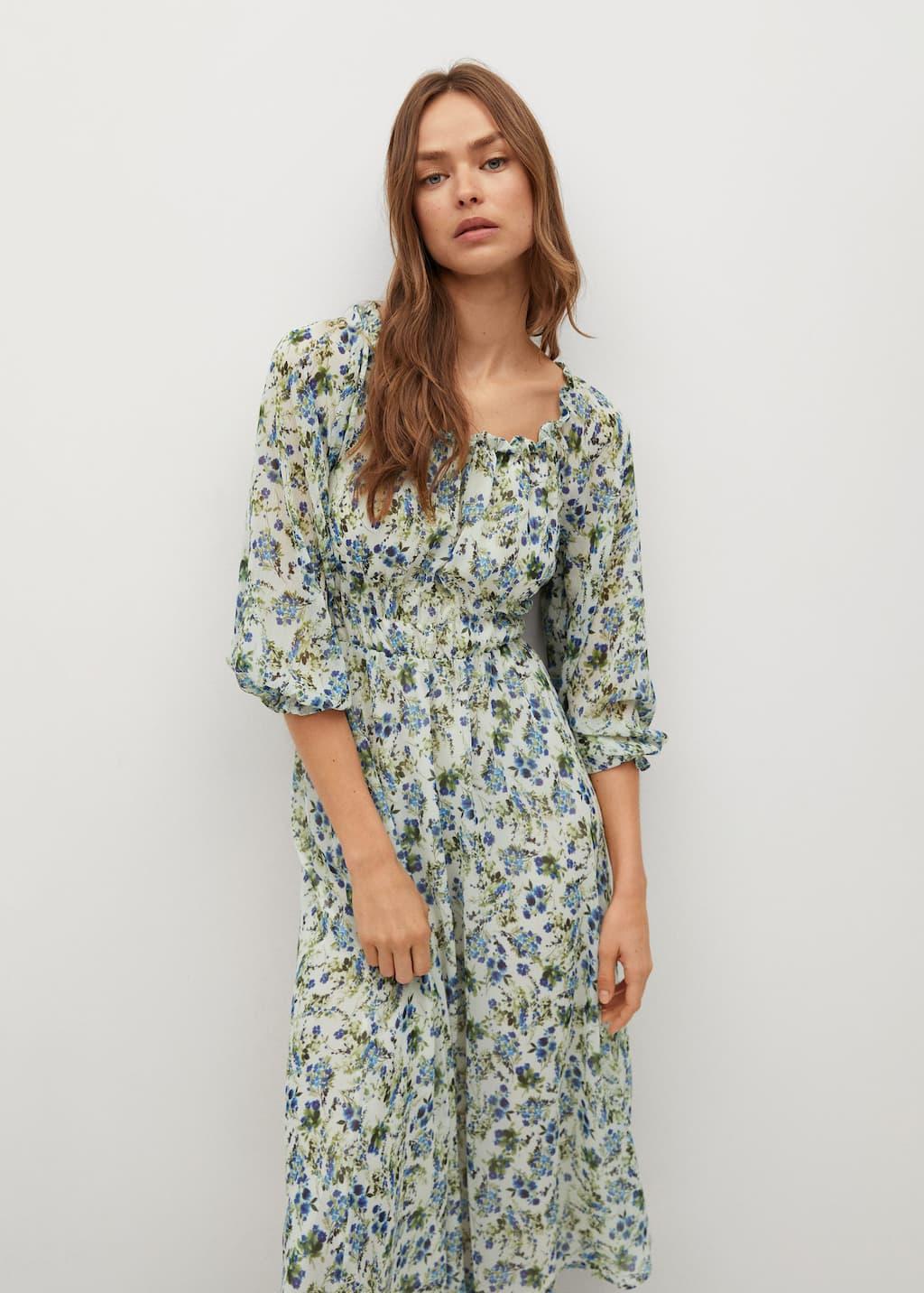 Printed dress with balloon sleeves - Medium plane