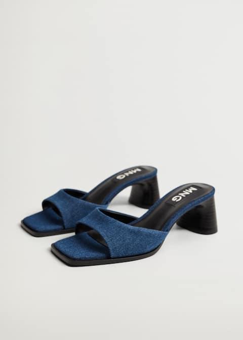 Sandale din denim cu toc - Plan mediu