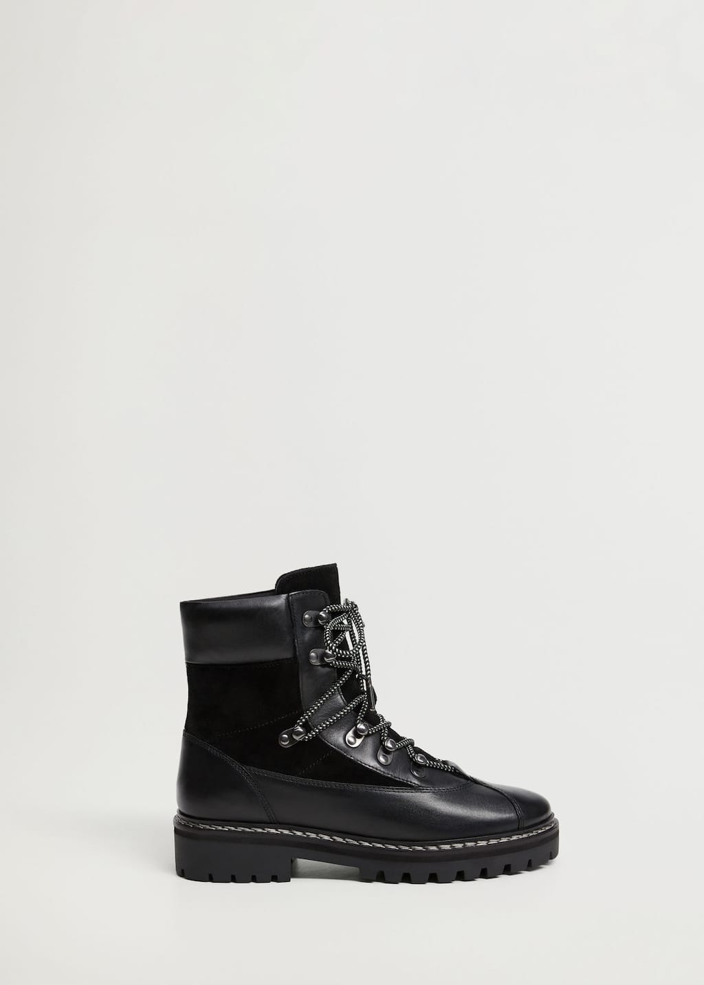 Contrast lace-up leather boots - Article without model