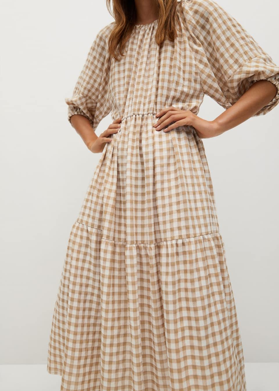 Kariertes kleid mit volant detail   Damen   Mango Deutschland