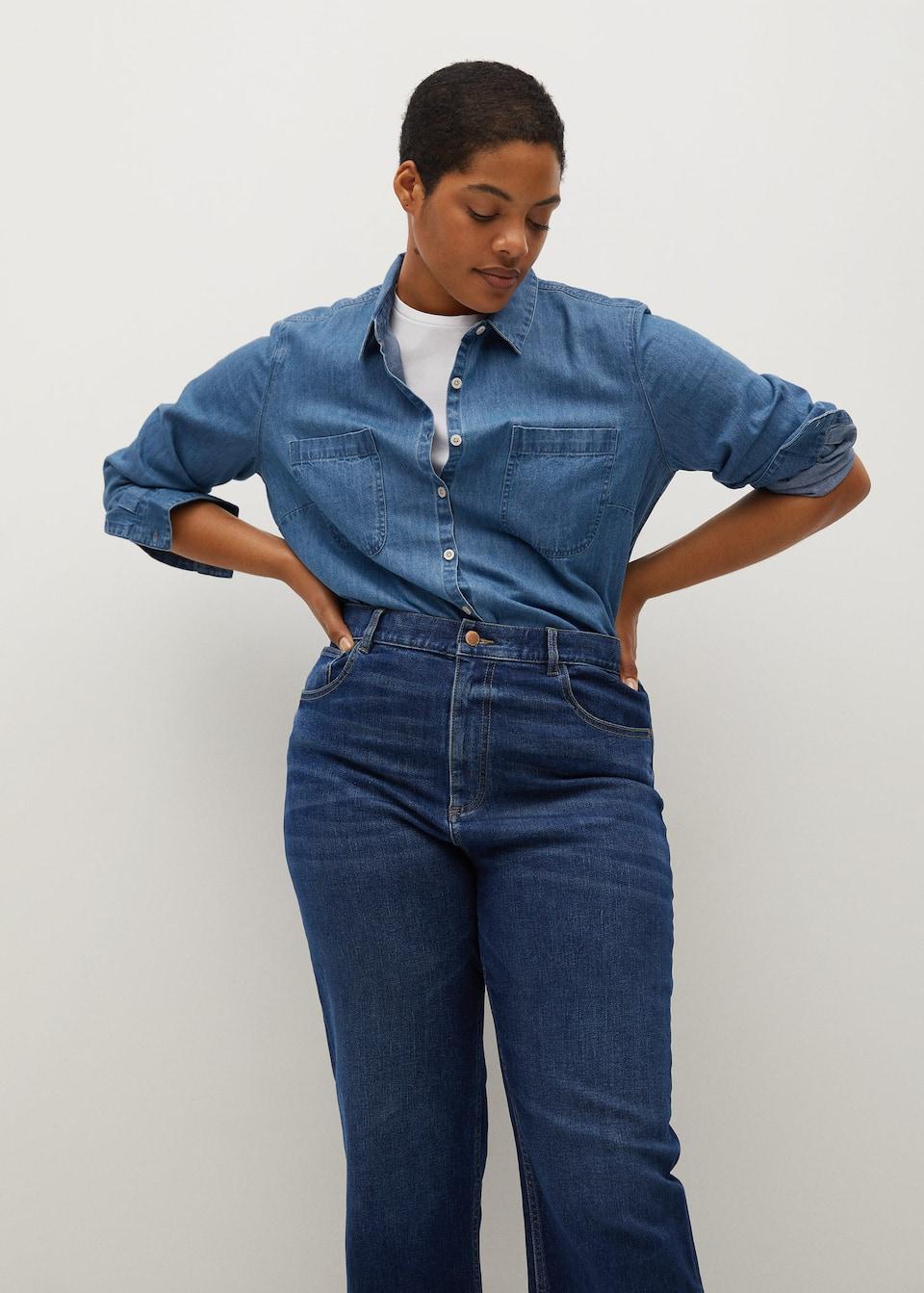 High Waist Straight Jeans Plus Sizes Violeta By Mango Aruba