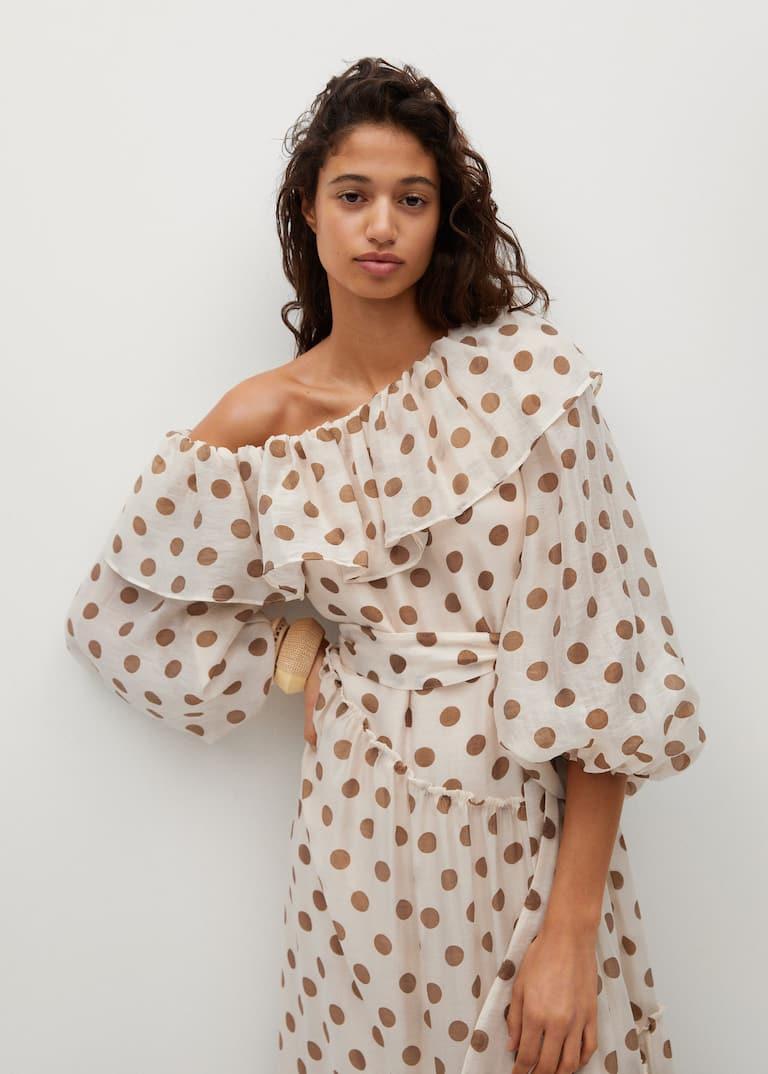 Polka-dot dress with ruffles - Women   Mango United Kingdom