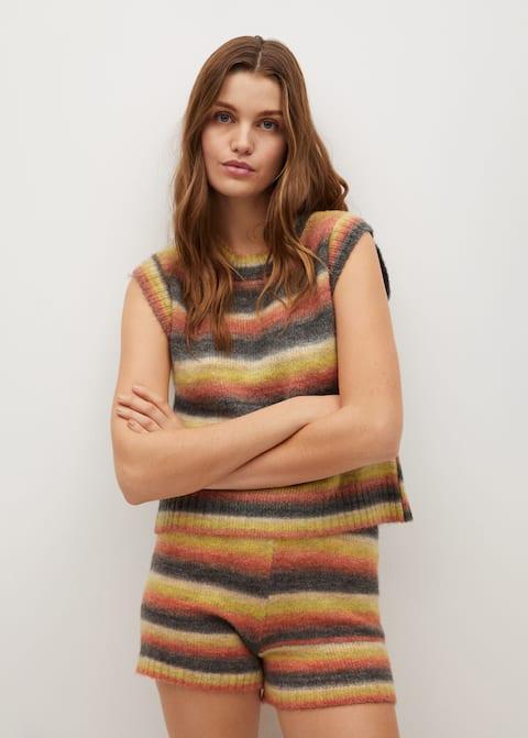 Multicoloured knitted vest - Medium plane