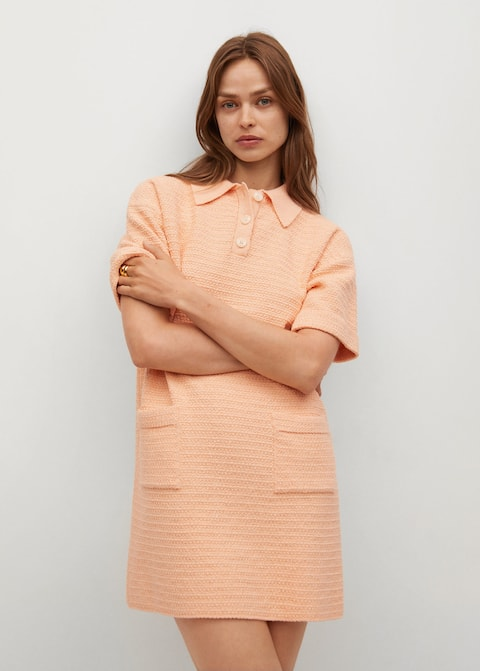 Polo-style knit dress - Medium plane