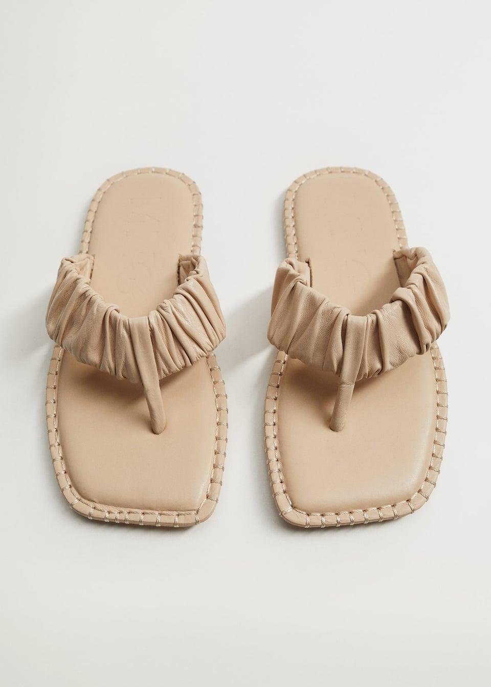 Ruched leather sandals - Medium plane