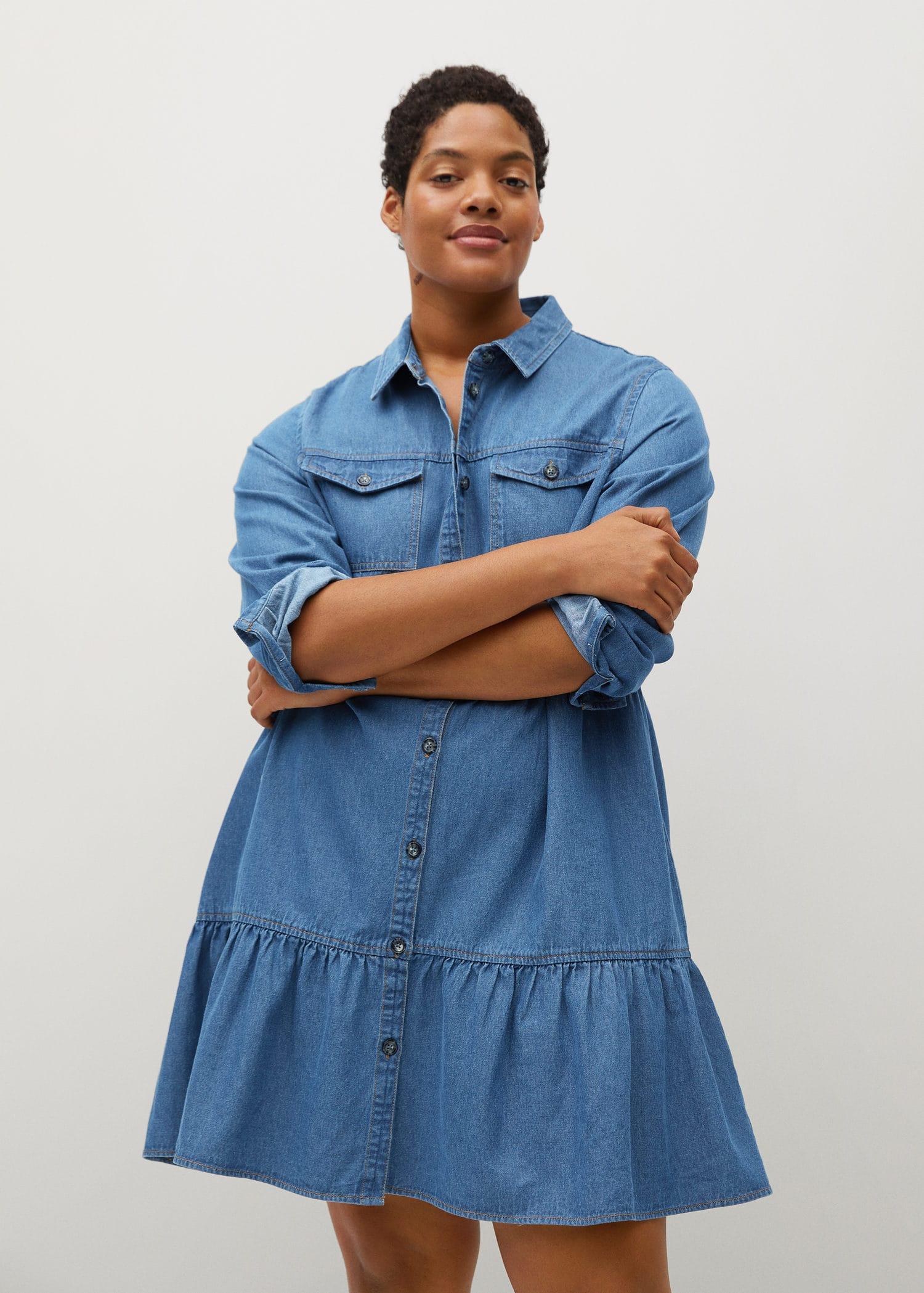 Denim shirt dress - Plus sizes   Violeta by Mango USA