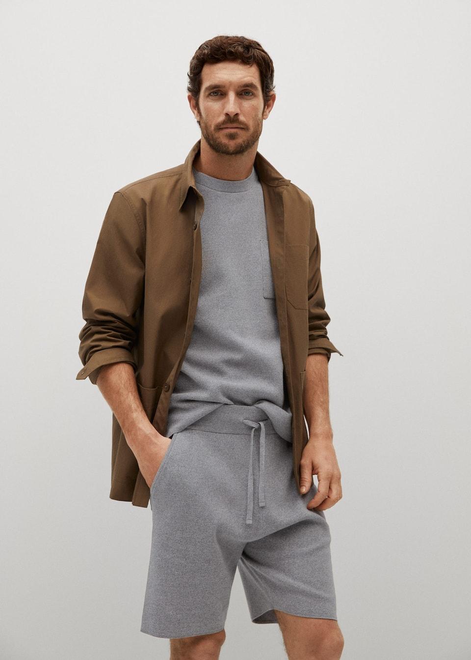 Grey Bermuda mens shorts from Mango