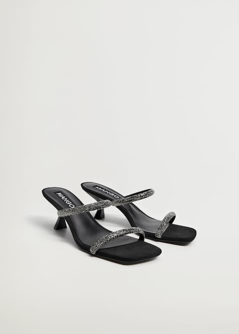 Leather sandals with strass straps   - Medium plane