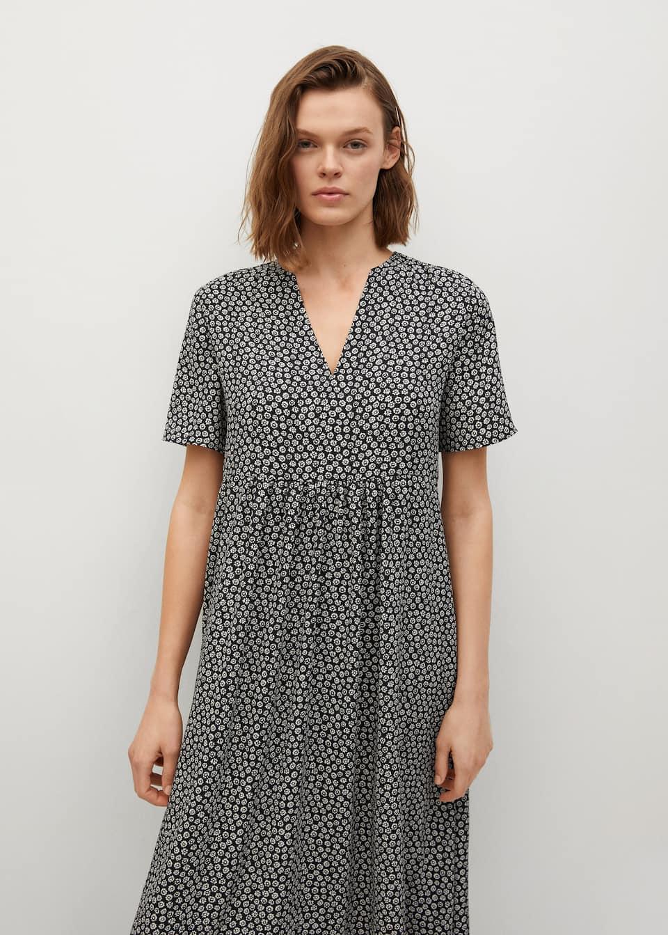 Fließendes kleid mit blumenmuster   Damen   Mango Deutschland