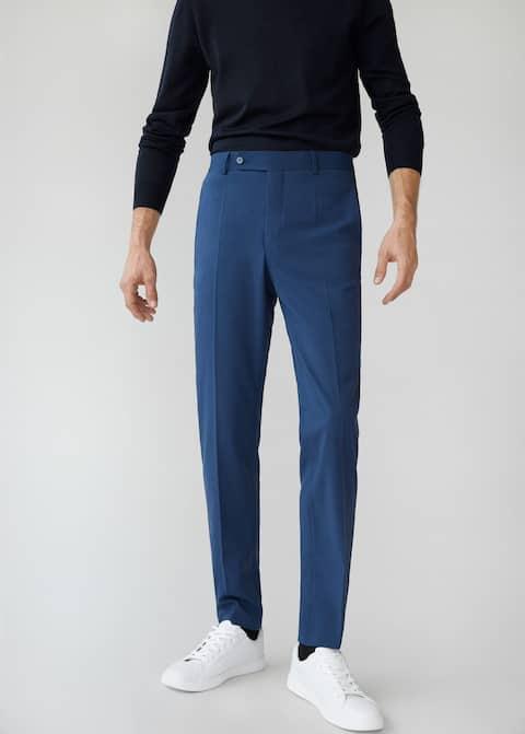 Slim fit microstructure suit trousers - Medium plane
