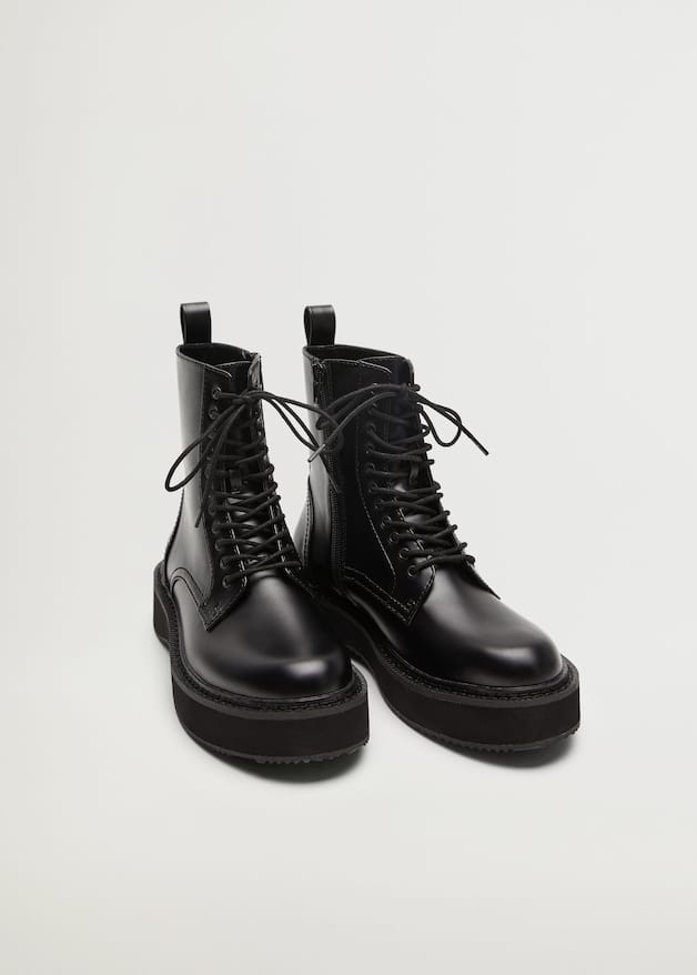 Lace-up track sole boots - Medium plane