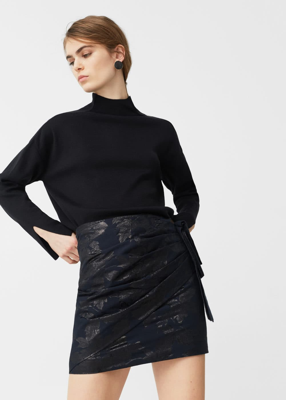 Draped jacquard skirt | MANGO