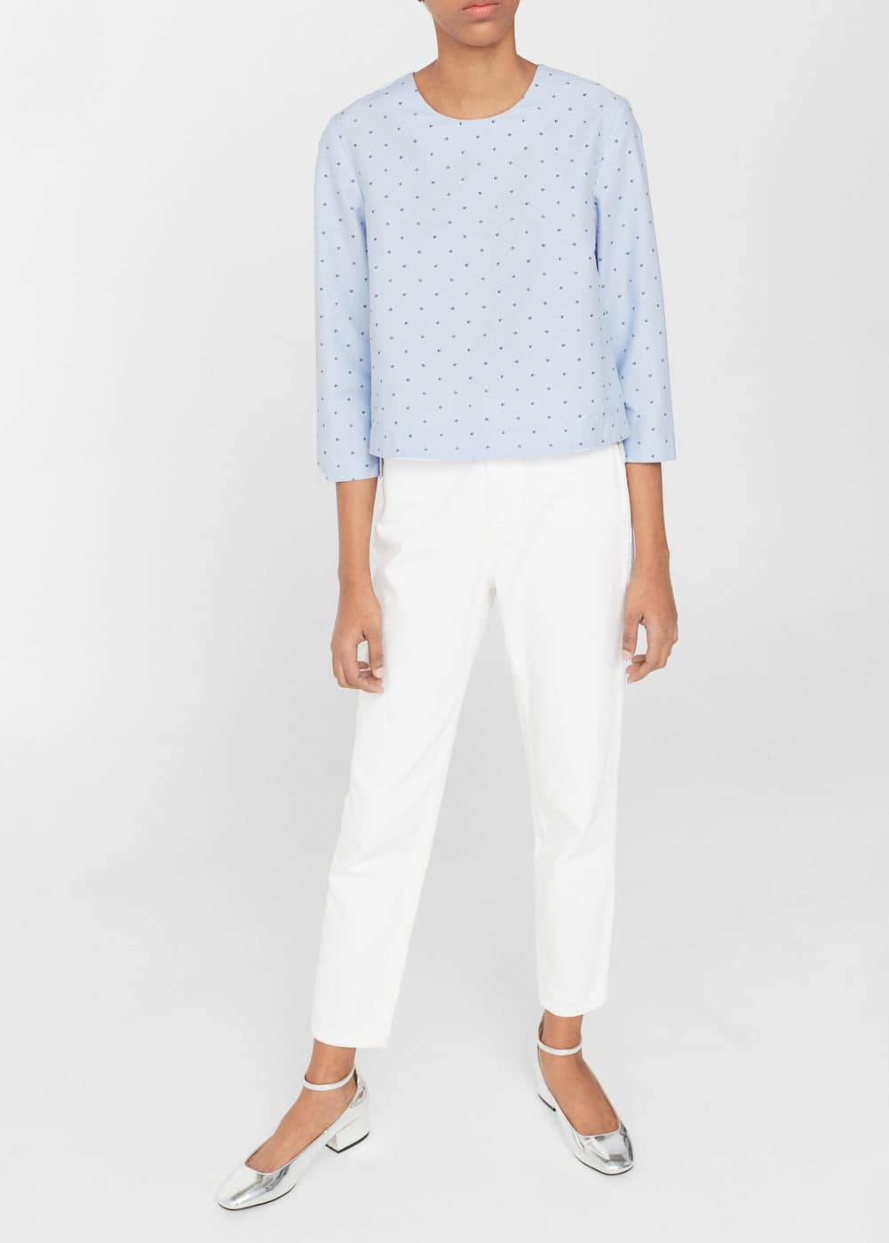 Printed cotton blouse | MANGO