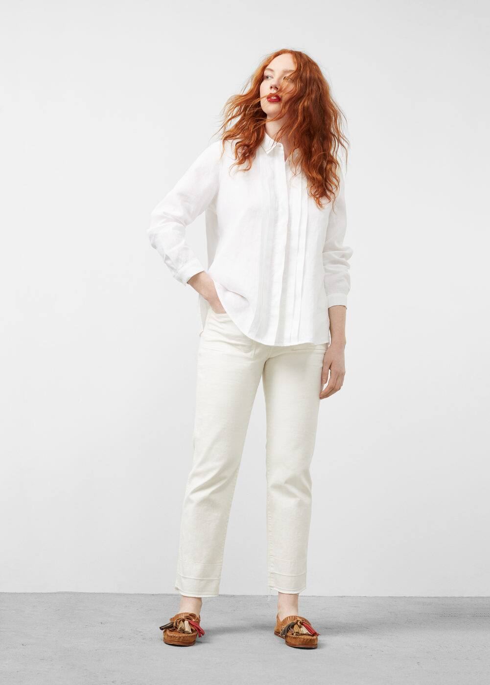 Linen-blend trimmed shirt | VIOLETA BY MANGO
