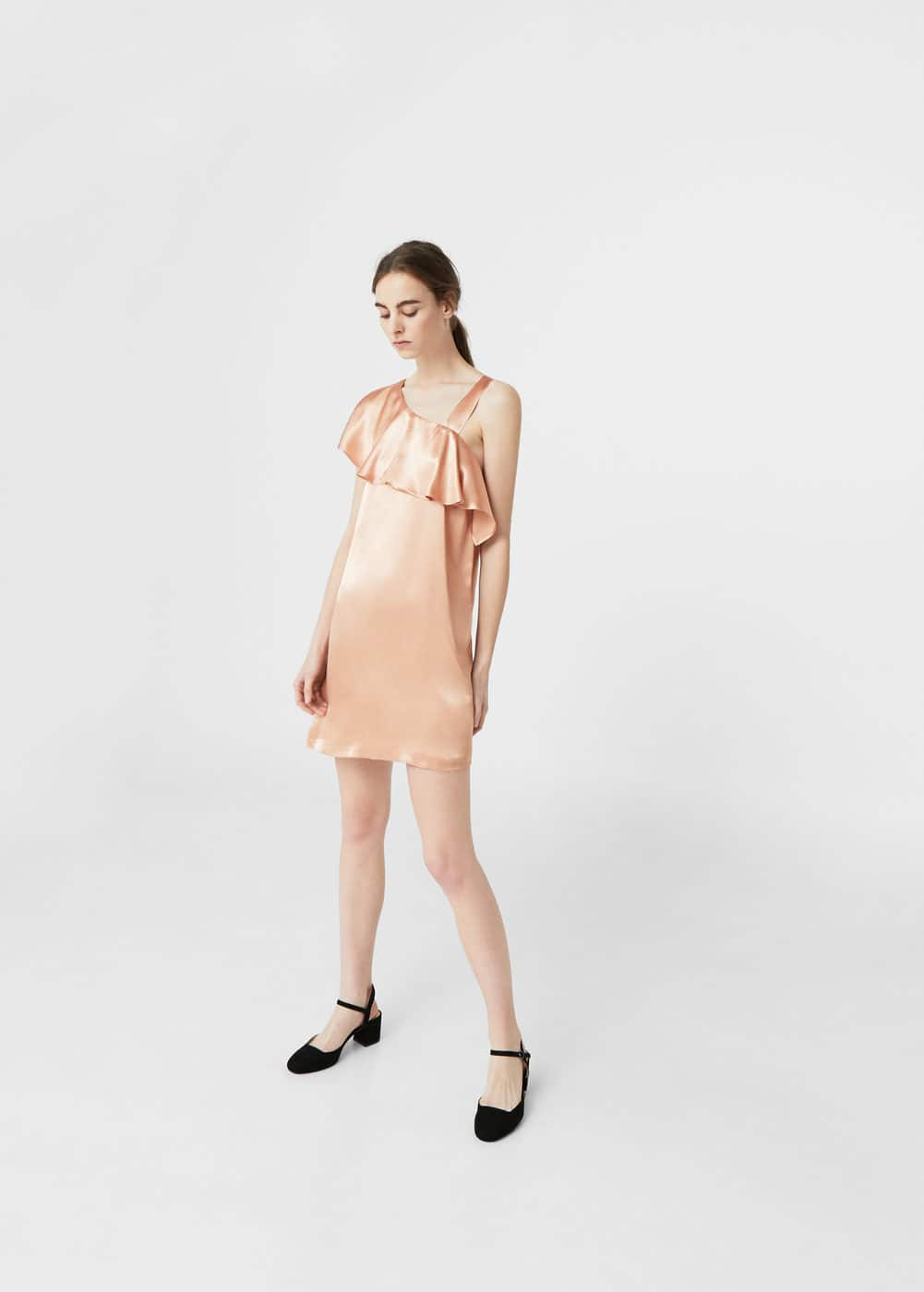 Metallic asymetric dress | MANGO