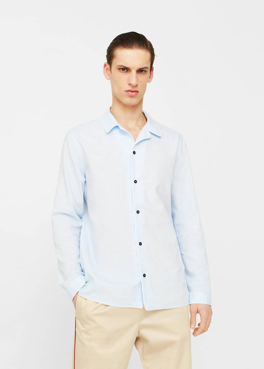 Regular-fit cotton linen-blend shirt | MANGO