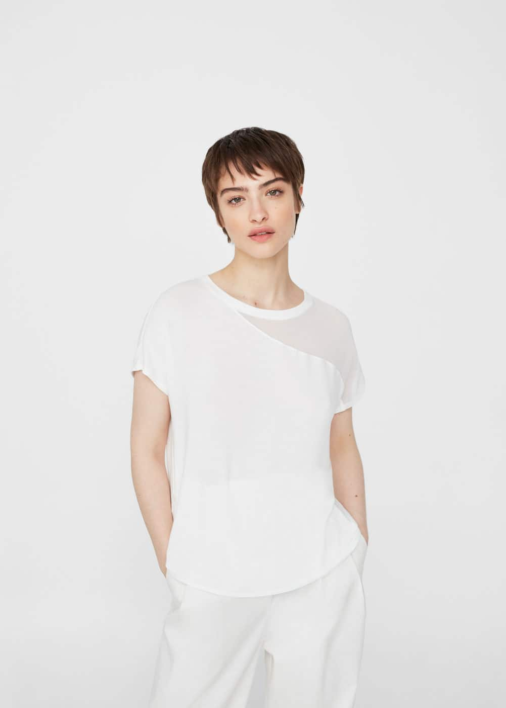 Chiffon panel t-shirt | MANGO