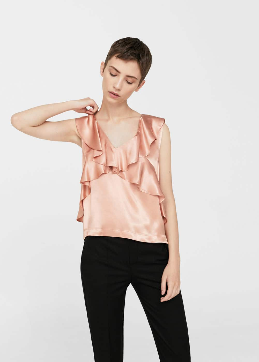Frilled satin top | MANGO