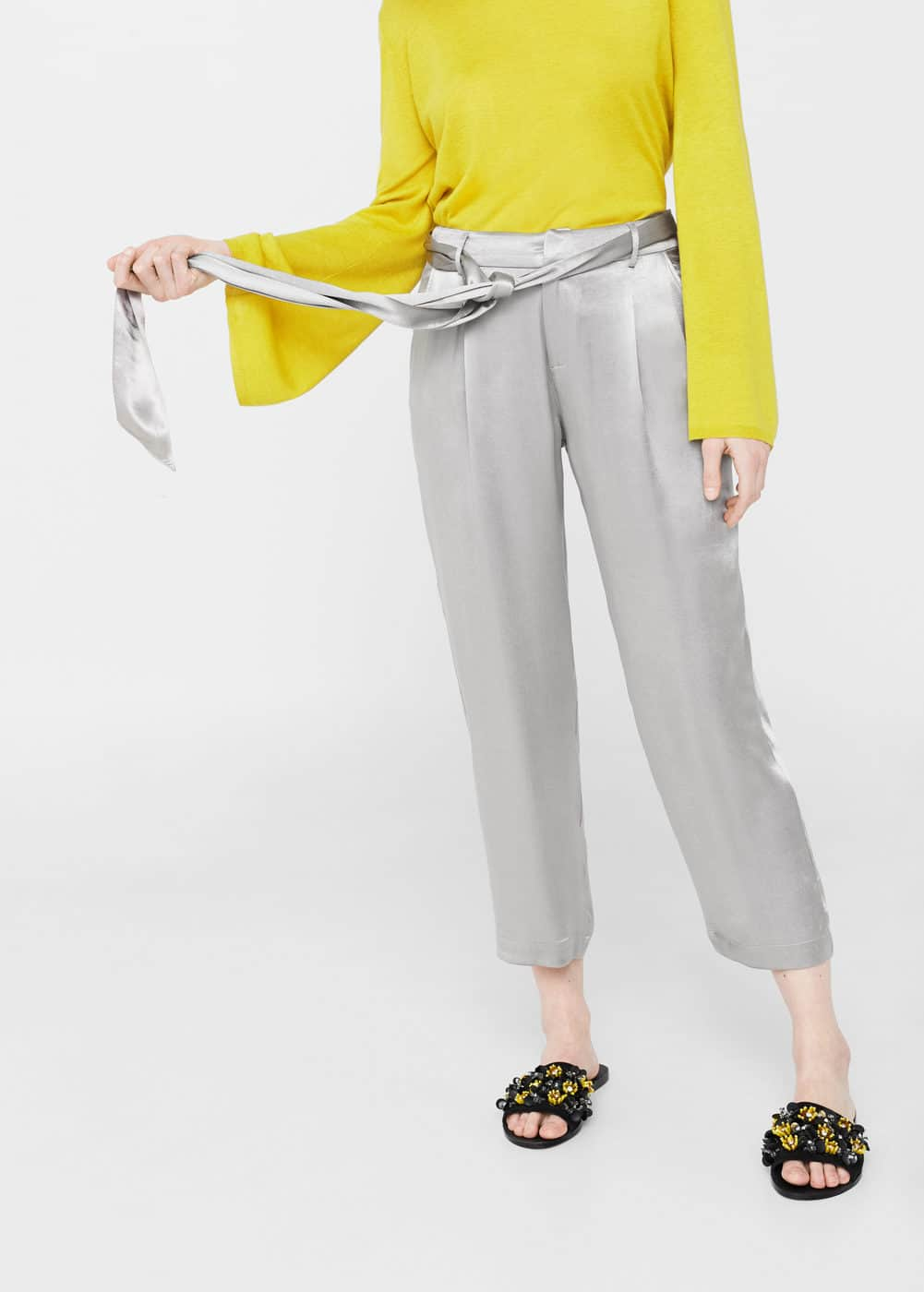 Bow satin trousers | MANGO