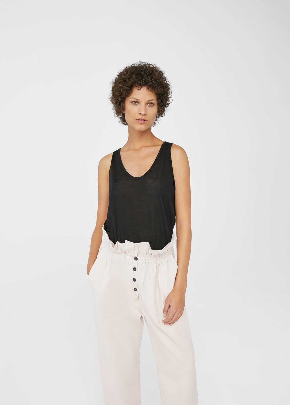 Ruched waist trousers | MANGO