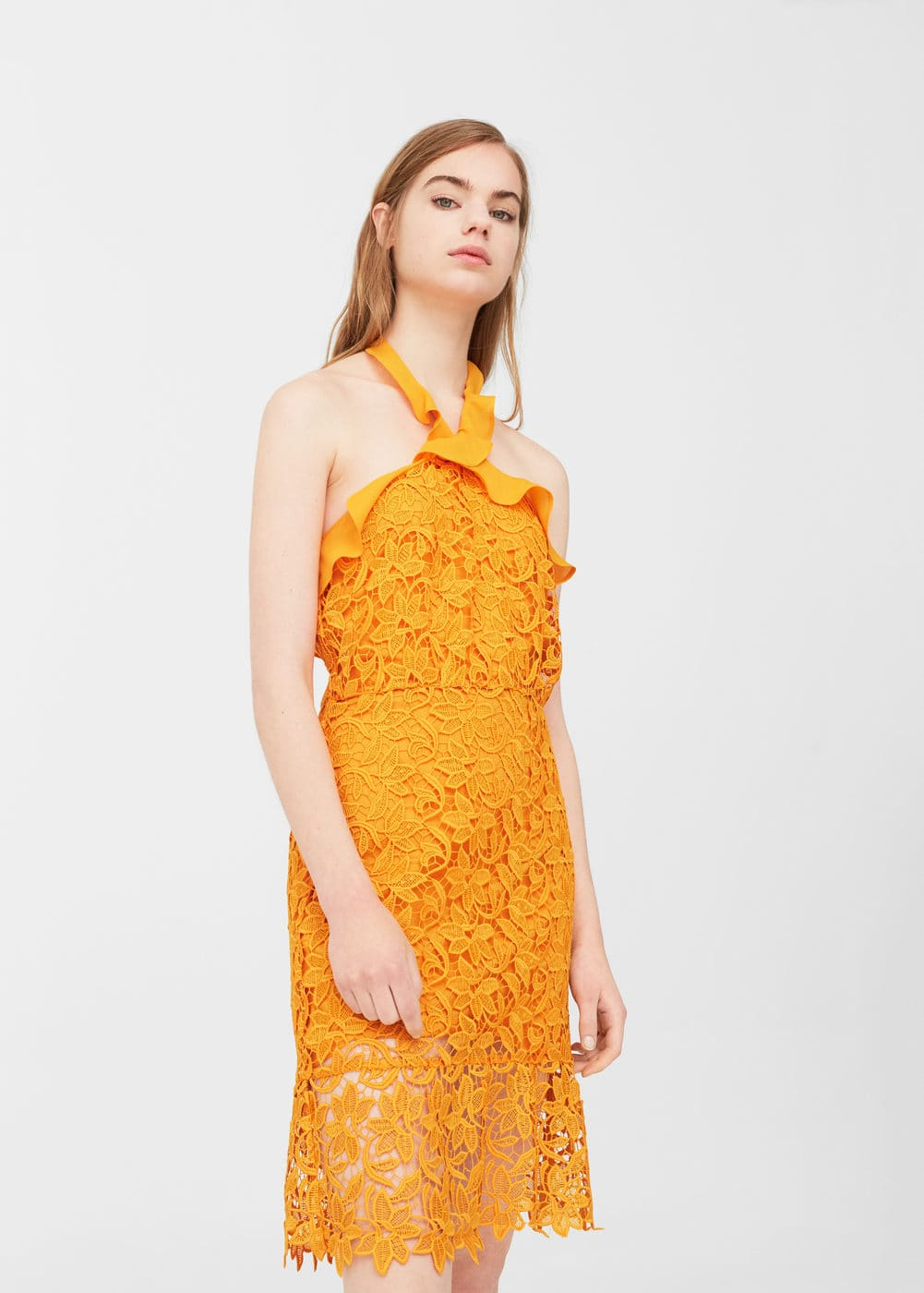 Guipure halter dress | MANGO