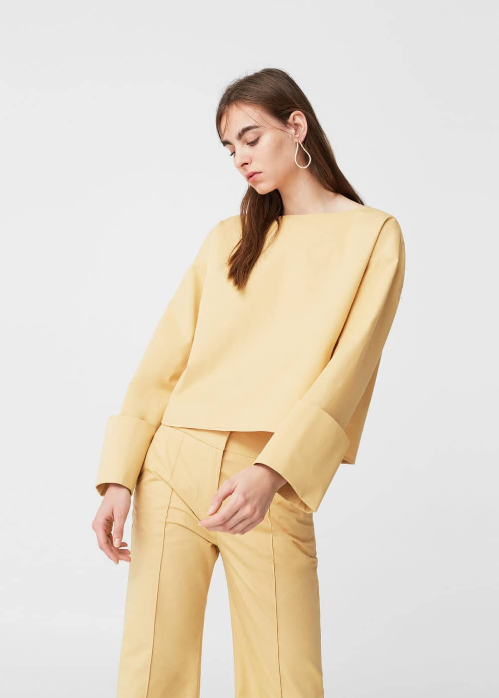 Folded cuffs blouse | MANGO