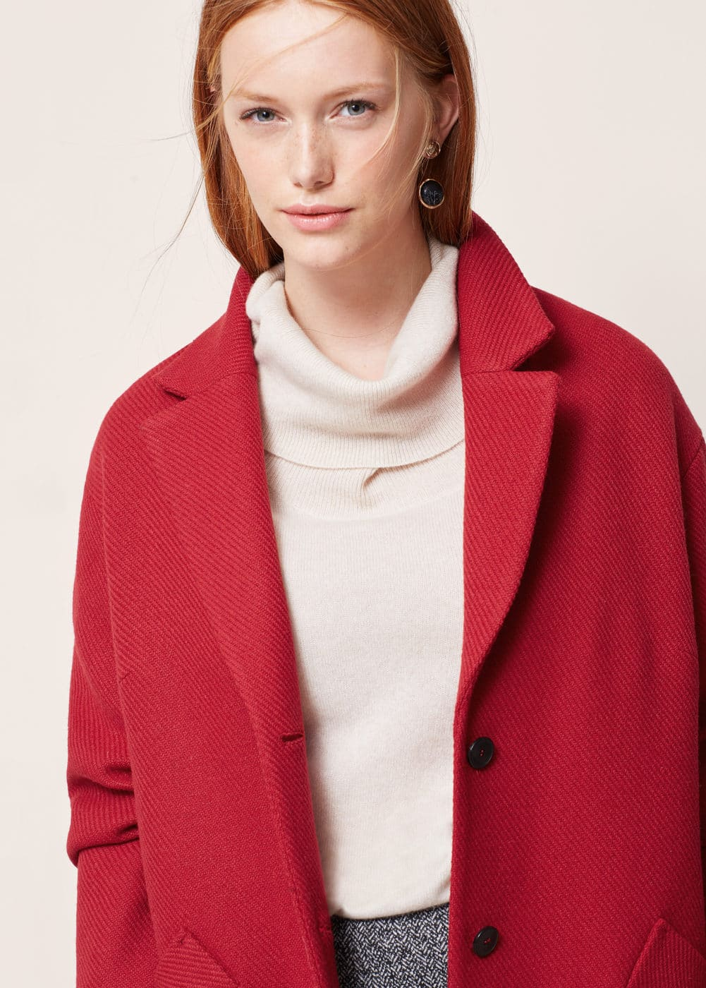 Textured wool-blend coat | VIOLETA BY MNG