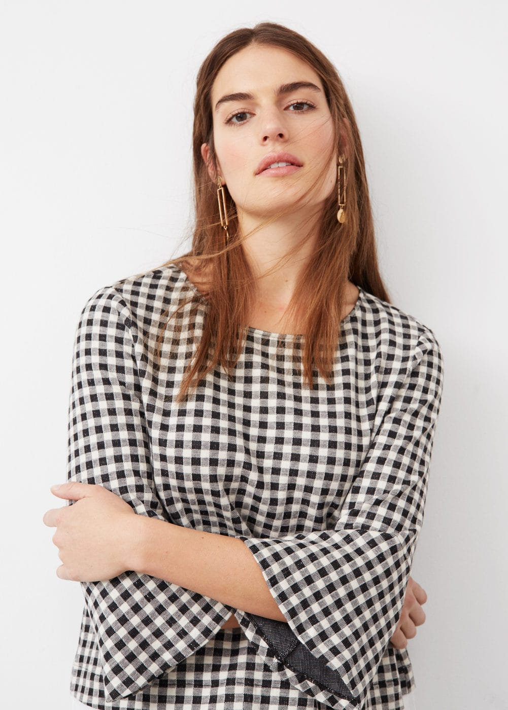 Gingham check contrast sweatshirt | VIOLETA BY MANGO